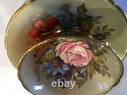 Aynsley J A Bailey Cup & Saucer Cabbage Rose Floral Gold Teacup Signed Rare