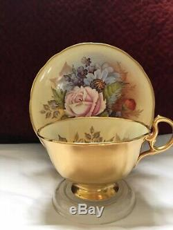 Aynsley J A Bailey Cup & Saucer Cabbage Roses Floral Gold Teacup Signed