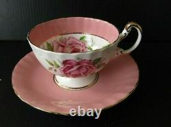 Aynsley Pink Teacup and Saucer Large Cabbage Roses Vintage Tea Cup Set Gold