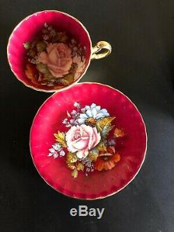 Aynsley Signed J. A Bailey China Tea Cup & Saucer Cabbage Rose Burgundy
