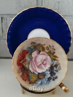Aynsley Teacup & Saucer #1033 Cobalt Blue Rose Floral Center Ja Bailey Signed