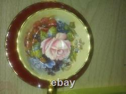 Aynsley teacup saucer j a bailey signed. Gold trim. Red Large floral
