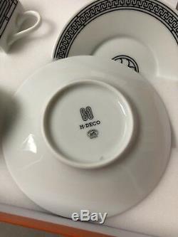 BNIB HERMES Porcelain Tea Cup Saucer H DECO Tableware set (2 Set) $320 Pre Tax