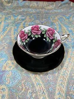 Beautiful Black Paragon Teacup & Saucer Large Red Cabbage Roses