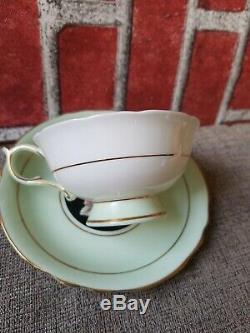 Beautiful Paragon Large Pink Rose Black Green Tea Cup & Saucer used