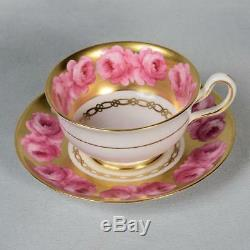 Beautiful Royal Chelsea Teacup & Saucer White/ Pink Roses Lots Of Gold