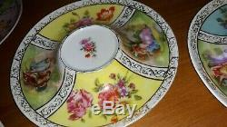 Beautiful Vintage Austrian Hand-painted Tea Cups & Saucers Set 4 Austria Unique