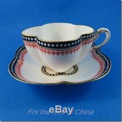 Black and Red Coalport Quatrefoil Tea Cup and Saucer Set (Some Crazing)