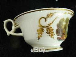 C1820 Pair Derby Porcelain Tea Cups & Saucers Scotland Spain Derbyshire