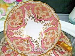 CAULDON tea cup and saucer lPINK & gold gilt teacup 1920s England TIFFANY