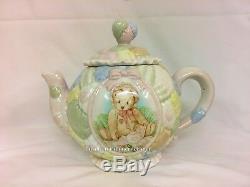 Cherished Teddies Marie Porcelain Tea Pot, 2 Tea Cup & Saucers Sugar & Creamer