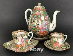 Chinese Rose Medallion Porcelain Teapot with Rare Square Teacup Set 19th C