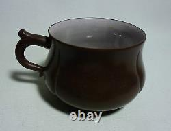 Chinese Yixing Tea Cup Crackle Glaze Inside with Smooth Bronze Feel Surface