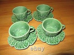 Cl/bordallo Pinheiro Majolica Cabbage Leaves/tea Cups + Saucers/service For 4