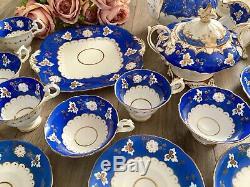 Coalport Adelaide Tea Set Blue Duck Spout Teapot Tea Coffee Cups Saucers 6810