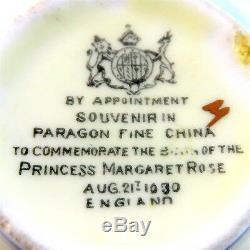 Commemorate Birth Princess Margaret Rose 1930 Paragon Cup, Saucer & Plate Trio