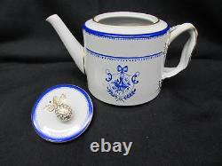 Copeland Spode Newburyport Blue & White Tea Set with 6 Cups & Saucers, Teapot