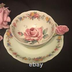 Crack Paragon Rose Flower Handle Tea Cup & Saucer Mint Green