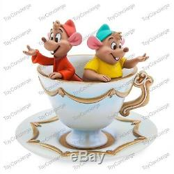 DISNEY Store JAQ AND GUS TRINKET TRAY TEA CUP & Saucer COLLECTIBLE Figurine NEW