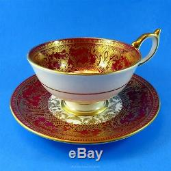 Deep Red and Gold Border with Signed JA Bailey Florals Aynsley Tea Cup & Saucer