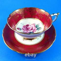 Deep Red and Gold Border with a Huge Rose Center Paragon Tea Cup and Saucer