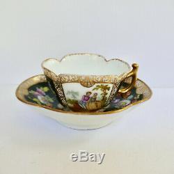 Dresden Meissen Style Quatrefoil Cup Saucer Hand Paint Lovers Germany Antique