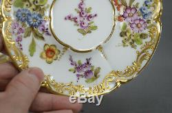 Dresden Style Eugene Clauss Paris Hand Painted Floral & Gold Tea Cup & Saucer A