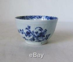 Early Blue & White Worcester Feather Moulded Tea Bowl & Saucer painters marks