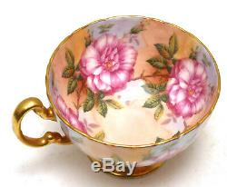 Elegant Aynsley Pink Large Cabbage Roses Gold Footed Cup and Saucer