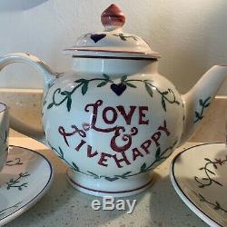 Emma Bridgewater Past Times Tea Pot Ever Thine Mug, 1pt Cup &Saucer, Cup Saucer