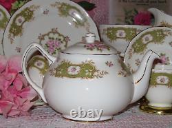English Tea Set Green band Pink Roses Teapot, Tea cups, Saucers, Plates, vintage