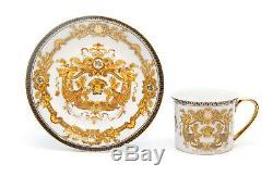Euro Porcelain 12-Pc Medusa Greek Key Tea Cup Set 24K Gold Coffee Service for 6