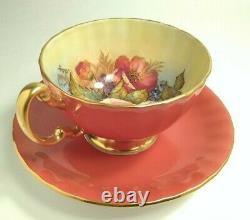 Excellent Aynsley Rust Cabbage Rose Cup and Saucer Signed Bailey LOVELY