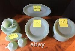 Fire King Jadeite, Jane Ray Luncheon plates, Salad plates, Tea Cups and Saucers