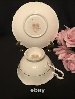 Floating Cabbage Rose Pink Paragon Tea Cup&Saucer Double Warrant Of Queen