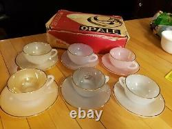 French Harlequin Arcopal Pastel Opalescent Gold Rimmed 6 tea Cups And Saucers