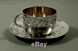French Sterling Tea Set Cup & Saucer c1895 Edouard Clerc
