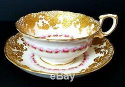 GORGEOUS Antique H & Co England Hand Painted Porcelain Roses Gold Tea Cup Saucer