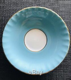 Gorgeous Aynsley Blue Cabbage Rose Bone China Footed Tea Cup Saucer, Paragon