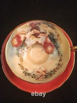 Gorgeous Aynsley orchid coral tea cup and saucer set
