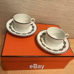 HERMES Porcelain Tea Cup Saucer Chaine d'ancre Blue Dinnerware set Ornament DHL
