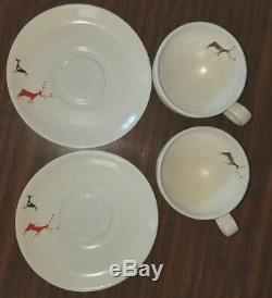HTF Vintage Primitive Salem Free Form Mid Century Modern Deer Teacup Saucer Cup