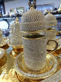 Handmade Copper Turkish Coffee Espresso Tea Zamzam Serving Set Swarovski Coated