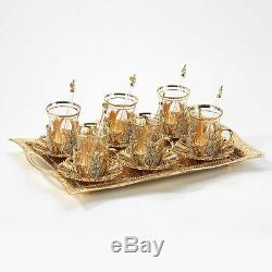 Handmade Copper Turkish Coffee Tea Serving Set Swarovski Coated Gold Color