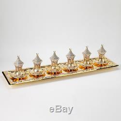 Handmade Copper Turkish Tea Zamzam Serving Set Swarovski Coated Gold Color