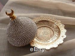 Handmade Turkish Arabic GREEK tea Cup Saucer Set (GOLD)TuHrkish moon decoration