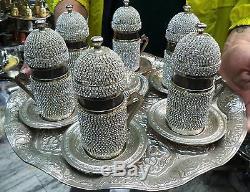 Handmade Turkish Swarovski Coated Copper/Glass Water-Tea-Zamzam Serving Set