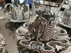 Handmade Turkish TEA Set Swarovski Crystal Coated Glass Cups Tray Delight Bowl