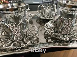 Handmade Turkish TEA Set Swarovski Crystal Coated Glass Cups Tray Silver Colour