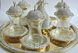 Handmade Turkish Tea Water Zamzam Serving Set Made with Swarovski Coated Gold